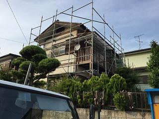 千葉県印西市、外壁塗装、架設足場 (3)