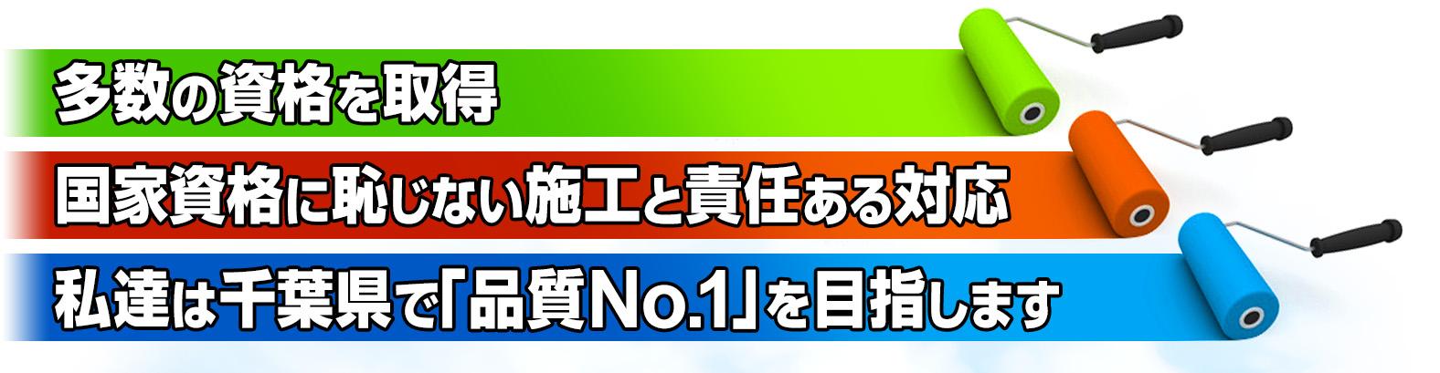 多数の資格を取得・国家資格に恥じない施工と責任ある対応。私達は千葉県で「品質No.1」を目指します